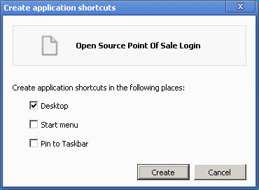 Create application shortcuts dialog box
